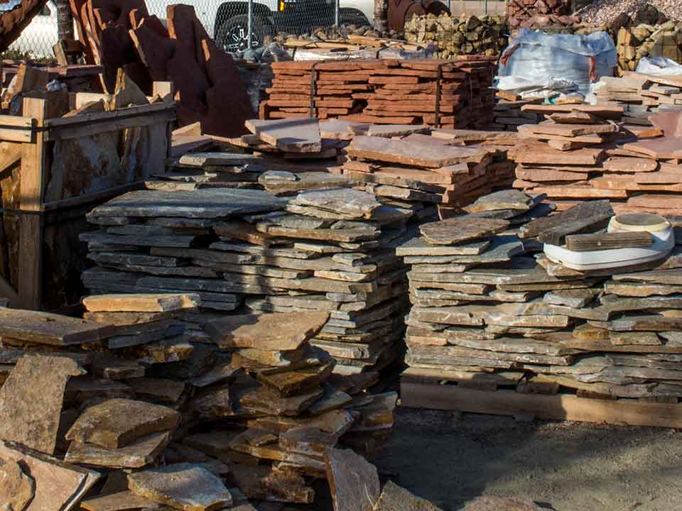 Blue rock landscape materials stocks flagstone
