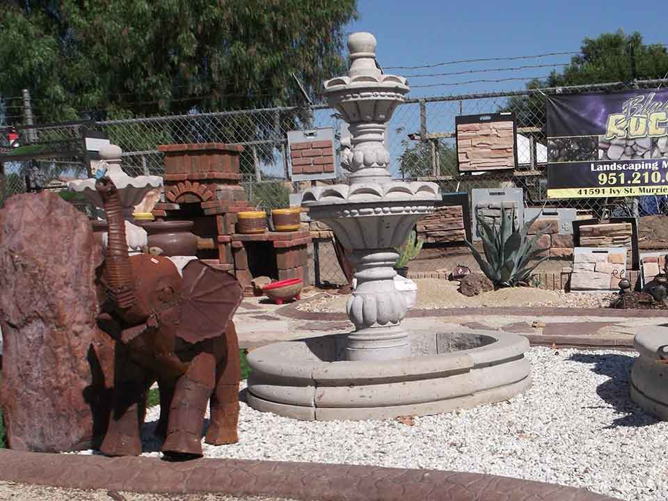 Blue rock landscape materials carries a large selection of water features and fountains