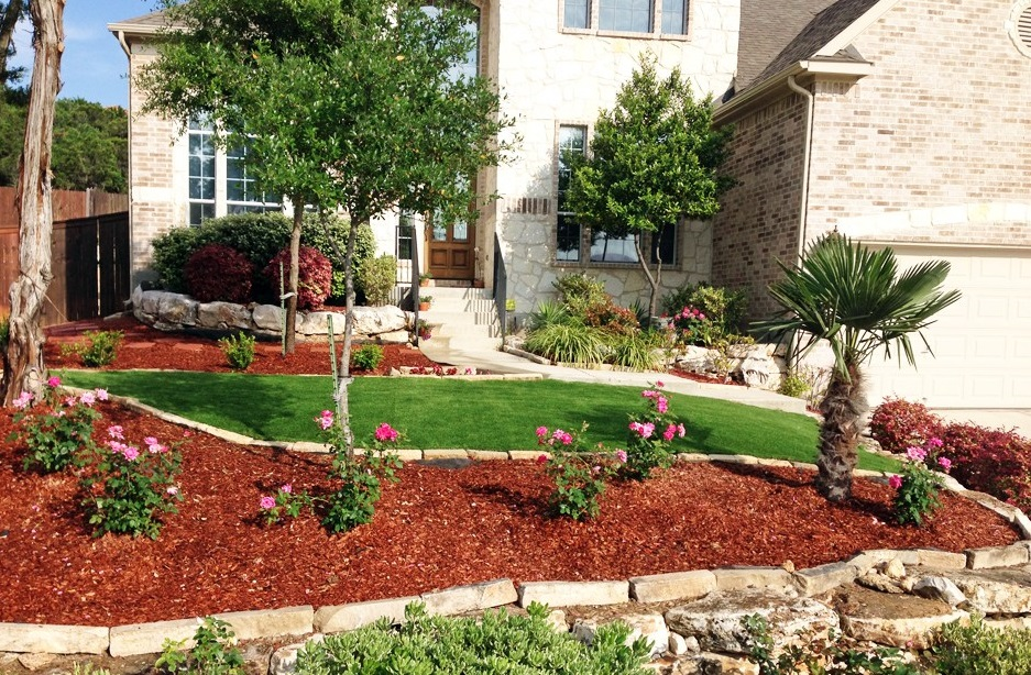 Front Yard Landscaping Ideas With Mulch Blue Rock Landscape Materials